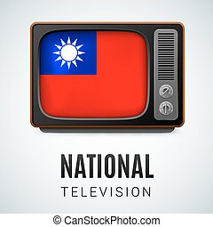 Round glossy icon of Taiwan - Vintage TV and Flag of Taiwan...