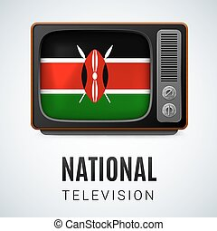 Round glossy icon of Kenya - Vintage TV and Flag of Kenya as...