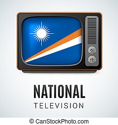 Round glossy icon of Marshall Islands - Vintage TV and Flag...