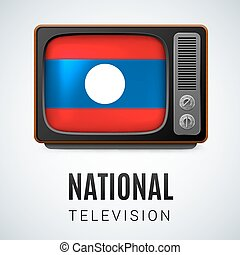 Round glossy icon of Laos - Vintage TV and Flag of Laos as...