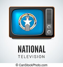 Round glossy icon of Northern Mariana Islands - Vintage TV...
