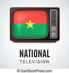 Round glossy icon of Burkina Faso - Vintage TV and Flag of...