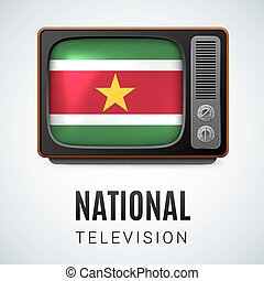 Round glossy icon of Suriname - Vintage TV and Flag of...