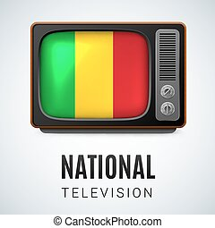 Round glossy icon of Mali - Vintage TV and Flag of Mali as...