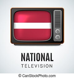 Round glossy icon of Latvia - Vintage TV and Flag of Latvia...
