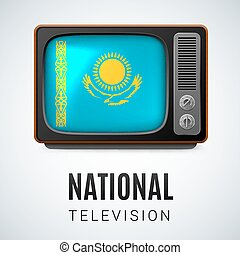 Round glossy icon of Kazakhstan - Vintage TV and Flag of...