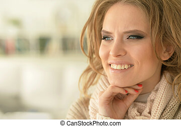 portrait of beautiful young woman - close up portrait of...