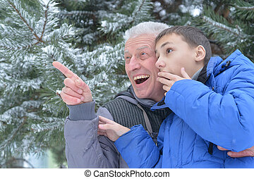 grandfather with grandson together