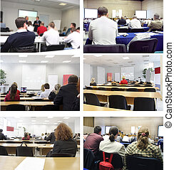 conferences - collage with the images of conferences. All...