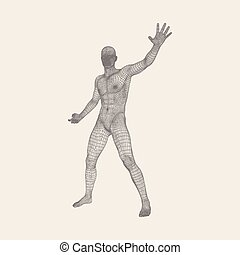 Vector man with hand up to stop. Human showing stop gesture....