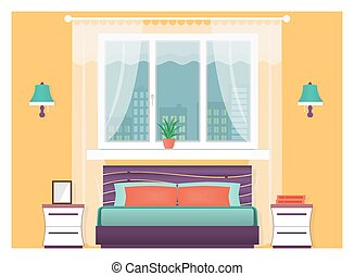 Bright bedroom interior with furniture. Home design concept....