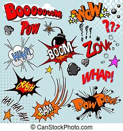 cômico, livro, explosão