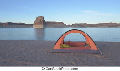 Empty tent  Camping Lone Rock Lake Powell