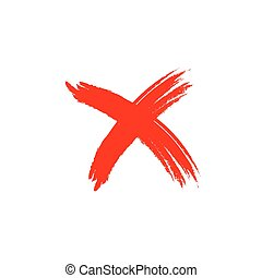 Cross sign grunge element - Cross sign element. Red grunge X...