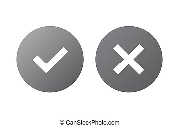 Tick cross signs set - Tick and cross silver signs. Gray...