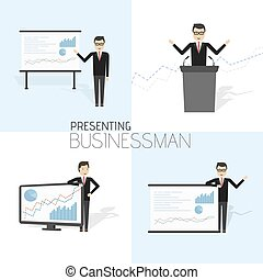 Businessman in formal suit is giving a presentation and showing graphs.