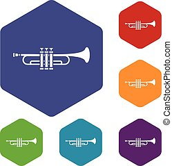 Brass trumpet icons set rhombus in different colors isolated...