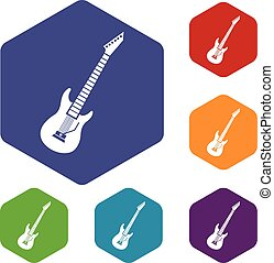 Electric guitar icons set rhombus in different colors...
