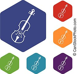 Cello icons set rhombus in different colors isolated on...
