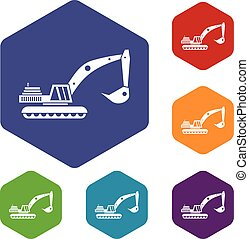 Excavator icons set rhombus in different colors isolated on...