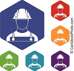 Builder icons set rhombus in different colors isolated on...