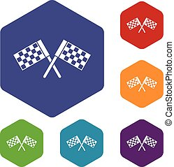 Crossed chequered flags icons set rhombus in different...