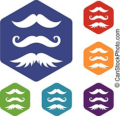 Moustaches icons set rhombus in different colors isolated on...