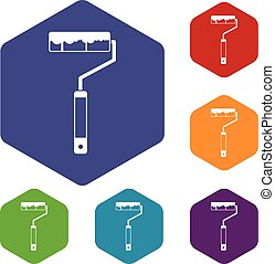 Paint roller icons set rhombus in different colors isolated...