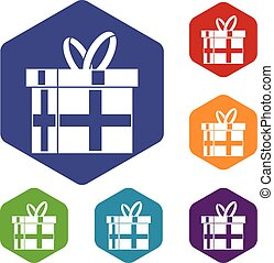 Gift in a box icons set