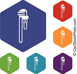 Pipe or monkey wrench icons set rhombus in different colors...
