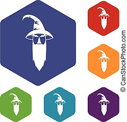 Wizard icons set rhombus in different colors isolated on...