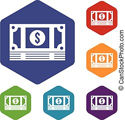 Stack of money icons set rhombus in different colors...