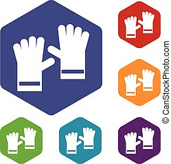 Rubber gloves icons set