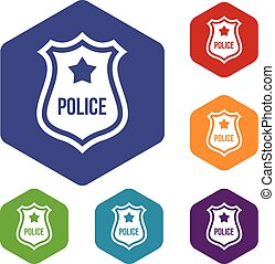 Police badge icons set rhombus in different colors isolated...