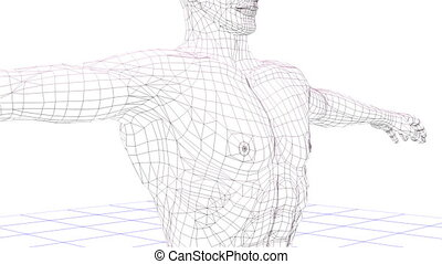Wire man stand and rotates