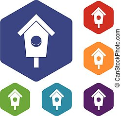 Birdhouse icons set rhombus in different colors isolated on...