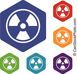 Danger nuclear icons set