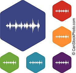 Music sound waves icons set