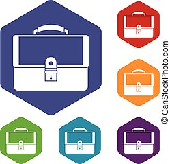 Briefcase icons set rhombus in different colors isolated on...