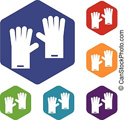 Rubber gloves icons set rhombus in different colors isolated...