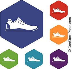 Athletic shoe icons set rhombus in different colors isolated...