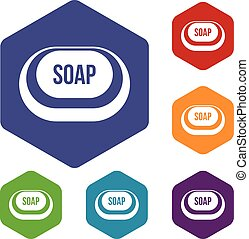 Soap icons set rhombus in different colors isolated on white...