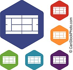 Tennis court icons set rhombus in different colors isolated...