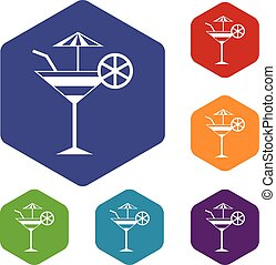 Fruit cocktail icons set