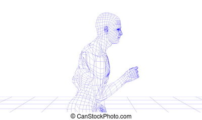 wire man running looping on white