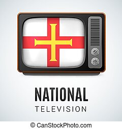 Round glossy icon of Guernsey - Vintage TV and Flag of...