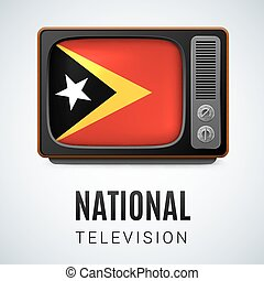 Round glossy icon of East Timor - Vintage TV and Flag of...