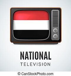Round glossy icon of Yemen - Vintage TV and Flag of Yemen as...