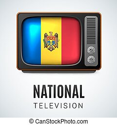 Round glossy icon of Moldova - Vintage TV and Flag of...