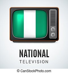 Round glossy icon of Nigeria - Vintage TV and Flag of...